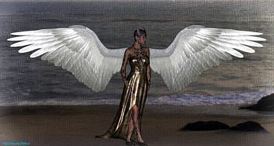 Digital Art - Angel On The Beach by Aeabia A