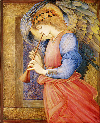 Angelic Digital Art - Angel Playing A Flageolet by Edward Burne Jones