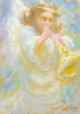 Angel Playing Lovesong Art Print by John Murdoch