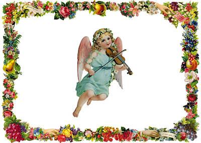 Angel Playing The Lute Print by Munir Alawi