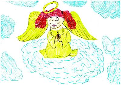 Angel Blues Drawing - Angel Prayer by Shaunna Juuti