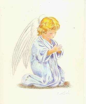 Drawing - Angel Praying by Ruth Seal