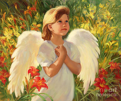 Child Praying Painting - Angel Red And Yellow by Laurie Hein
