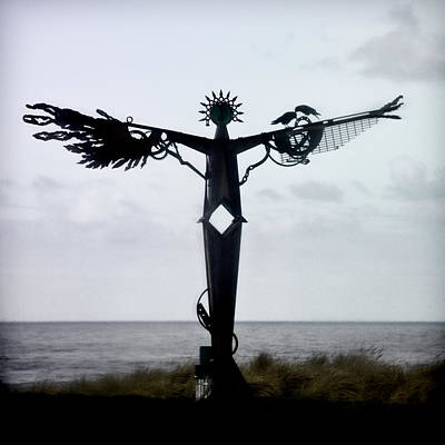 Crow Photograph - Angel Sculpture On The Oregon Coast by Carol Leigh