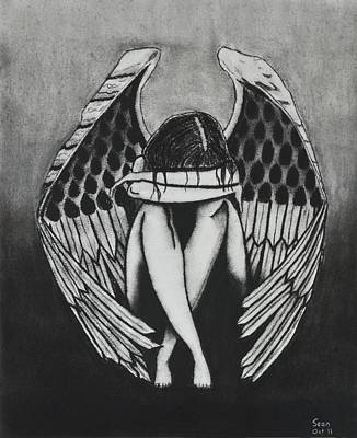 Sad Girl Drawing Drawing - Angel by Sean Mitchell