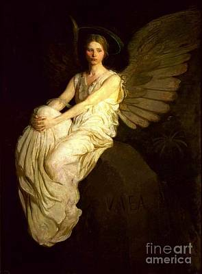 Painting - Angel Seated On Rock by Pg Reproductions