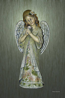 Bed Quilts Digital Art - Angel Statue Green Background by Thomas Woolworth