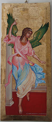 Byzantin Painting - Angel  The Annunciation by Charalampos Gkolfinopulos