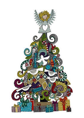 Holiday Drawing - Angel Tree by Sharon Turner