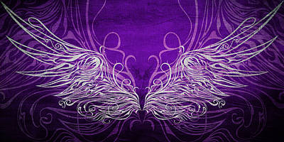Royal Mixed Media - Angel Wings Royal by Angelina Vick