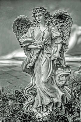 Photograph - Angel With Bird Black And White by Jerry Gammon