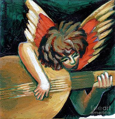 Christmas Greeting Painting - Angel With Lute by Genevieve Esson