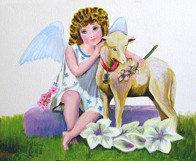 Painting - Angel With Lamb by Ruth Seal