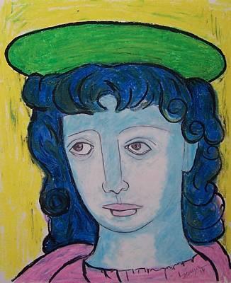 Angel With Pink Tunic Original by Raquel Hinojosa