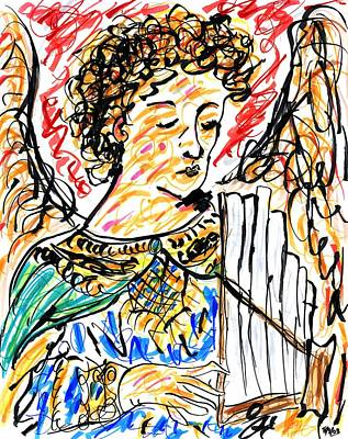 Drawing - Angel With Pipes - Final by Rachel Scott