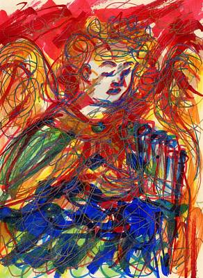 Drawing - Angel With Pipes - Green by Rachel Scott