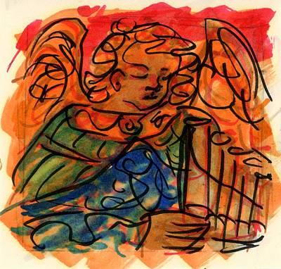 Angel With Pipes - Orange Original by Rachel Scott