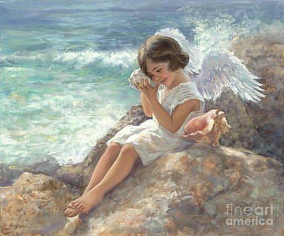 Angel With Shell Art Print by Laurie Hein