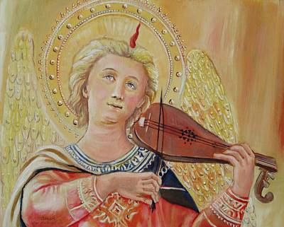 Tabernacle Painting - Angel With Violin After Fra Angelico by Sheila Diemert