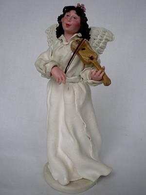 Angel With Violine Art Print by Natalia Elerdashvili