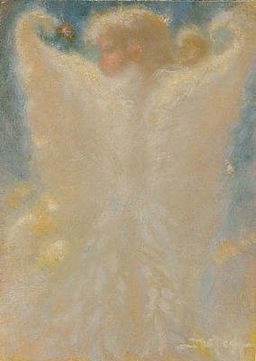 Angel With Wings From Behind Art Print by John Murdoch