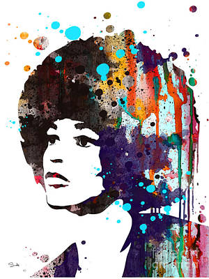 Watercolor Portraits Painting - Angela Davis by Luke and Slavi