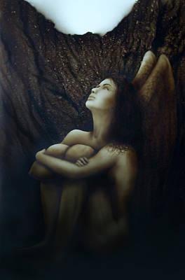 Angelcaido Art Print by Moises Hergueta