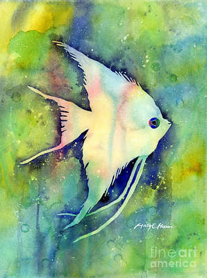 Animals Paintings - Angelfish I by Hailey E Herrera