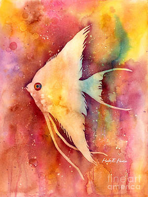 Tropical Fish Painting - Angelfish II by Hailey E Herrera