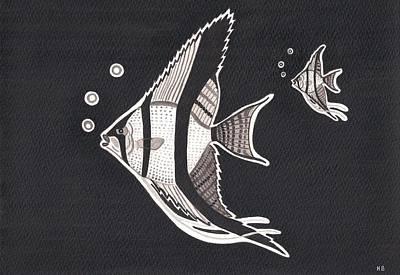 Icelandic Fish Painting - Angelfishes by Heidi Bjork
