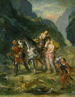 New South Wales Painting - Angelica And The Wounded Medoro by Eugene Delacroix