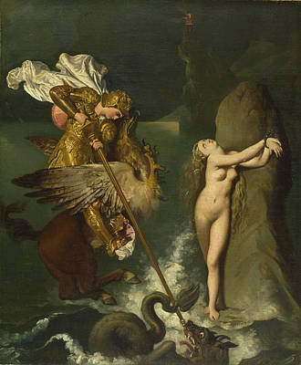 Ruggiero Painting - Angelica Saved By Ruggiero by Jean-Auguste-Dominique Ingres