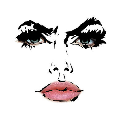 Angelina Jolie - Abstract Drawing And Reality Face  Art Print