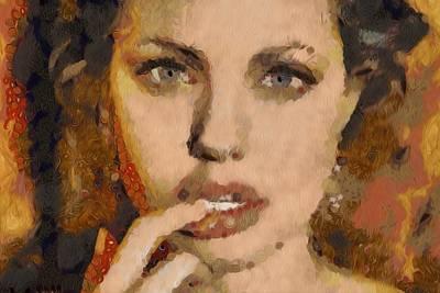Angelina Jolie Klimt Style Digital Painting Art Print by Costinel Floricel