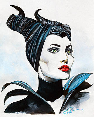 Fantasy Art Drawing - Angelina Jolie - Maleficent by Dave Olsen