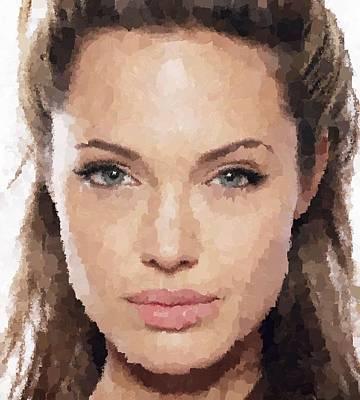 Israeli Flag - Angelina Jolie Portrait by Samuel Majcen