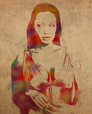 Cinema Mixed Media - Angelina Jolie Watercolor Portrait Painted On Worn Distressed Canvas by Design Turnpike