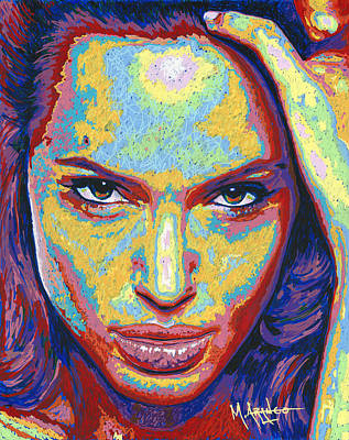 Movie Stars Painting - Angelina by Maria Arango