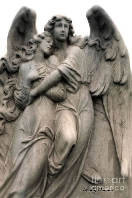 Photograph - Angels Embracing - Angels Dreamy Romantic Angel Art - Guardian Angel Art  by Kathy Fornal
