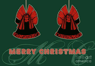 Christmas Cards Digital Art - Angels Green - Merry Christmas Greeting Card by Aimelle