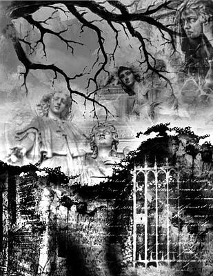 Digital Art - Angels In Gothica Bw by Michael Damiani