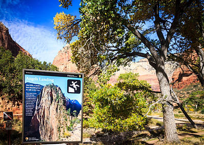 Photograph - Angels Landing Sign by Peta Thames