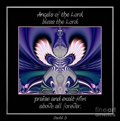 Digital Art - Angels Of The Lord Bless The Lord Praise And Exalt Him Above All Forever Fractal by Rose Santuci-Sofranko