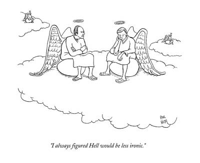 Angels Drawing - Angels Sitting On Eggs In Heaven by Paul Noth