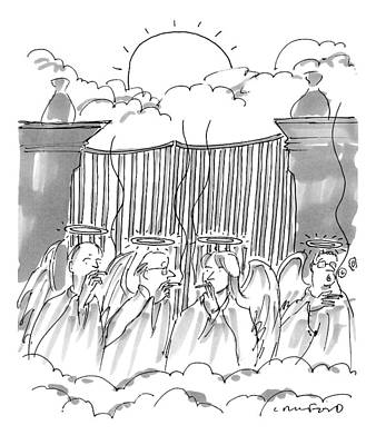 Angels Smoking Outside Of The Gates Of Heaven Art Print by Michael Crawford