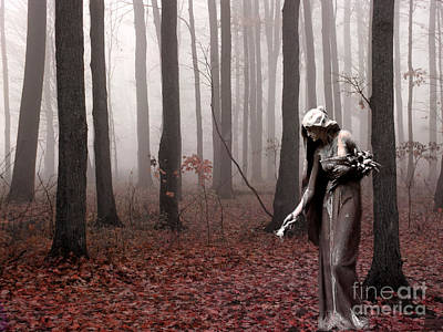 Angels Surreal Fantasy Female Figure In Woodlands Nature Haunting Landscape  Art Print by Kathy Fornal