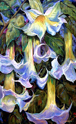 Floral Arrangement Painting - Angel's Trumpets - Floral Art By Betty Cummings by Sharon Cummings