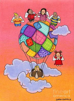 Cute Cartoon Drawing - Angels With Hot Air Balloon by Sarah Batalka