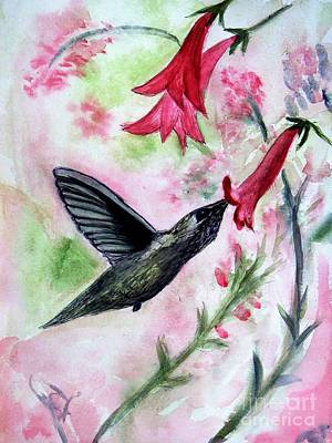 Donna Summer Painting - Angies Humming Bird by Donna Walsh