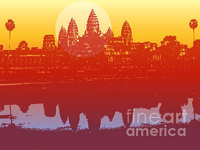 Dusk Wall Art - Digital Art - Angkor Wat In Sunset Vector - by Fat fa tin